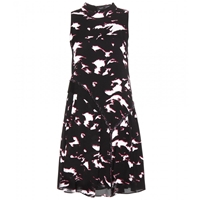 Proenza Schouler Printed Silk Dress Pink Black Large Feather