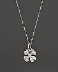 Kc Designs Diamond Clover Pendant Necklace In 14K White Gold .14 Ct. T.W. White Gold White Diamonds