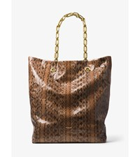 Angelina Extra Large Snakeskin Tote Saddle