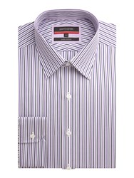 Pierre Cardin Stripe Tailored Fit Long Sleeve Shirt Purple