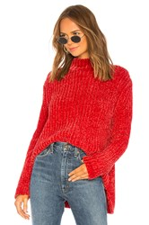 525 America Bouncy Chenille Mock Neck Red