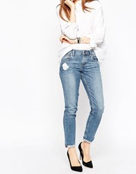 Asos Kimmi Shrunken Boyfriend Jeans In Lily Mid Wash With Rip And Repair Midwash Blue