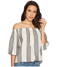 Bishop Young Karlie Off The Shoulder Grey Stripe Women's Clothing Multi