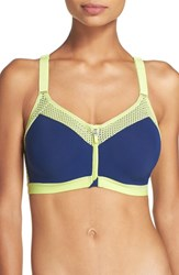 Wacoal Women's Zip Front Underwire Sports Bra Blue Depths Sharp Green