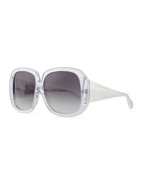 Courreges Plastic Square Sunglasses Clear White
