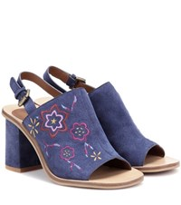 See By Chloe Embroidered Suede Sling Back Sandals Blue