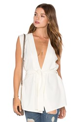 Twin Sister Tie Wrap Top White