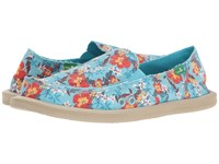 Sanuk Donna Aloha Aqua Waikiki Floral Women's Slip On Shoes Blue