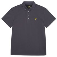 Lyle And Scott Woven Button Collar Polo Shirt Washed Grey
