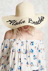 Forever 21 Aloha Beaches Graphic Straw Hat Beige Black