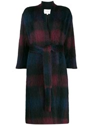 Vince Brushed Plaid Coat Blue