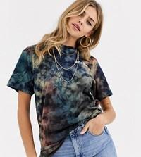 Ellesse Relaxed T Shirt With Front Logo In Washed Tie Dye Brown