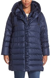 Plus Size Women's Tahari 'Olivia' Hooded Down Coat With Inset Bib And Knit Collar