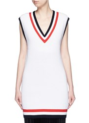 Mo And Co. Cricket Stripe Sleeveless Sweater Dress White