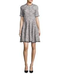 Rebecca Taylor Short Sleeve Fringe Trim Boucle Tweed Fit And Flare Dress Black Chalk Black Chalk