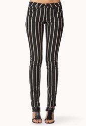 Forever 21 Vertically Striped Skinny Jeans Charcoal Ivory