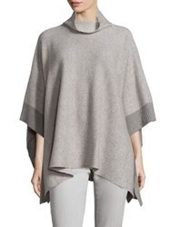 Eileen Fisher Funnelneck Cashmere And Wool Poncho Pewter
