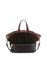 Nikki Suede And Leather Tote Bag Coffee Multi Oryany