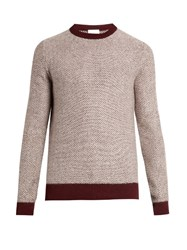 Raey Reverse Herringbone Wool Sweater Burgundy White
