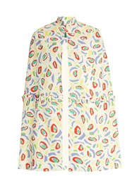 Duro Olowu Abstract Bird Print Crepe Cape White Multi