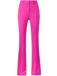 Filles A Papa High Waisted Flared Suit Trousers Wool Recycled Polyester Pink Purple