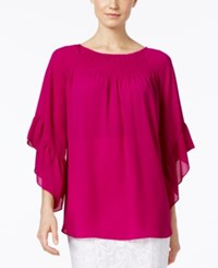 Alfani Solid Flounce Sleeve Peasant Blouse Only At Macy's Modern Orchid