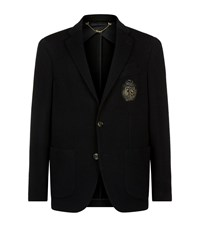 Billionaire Logo Badge Textured Jacket Male Black