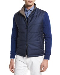 Ermenegildo Zegna Reversible Wool Vest Medium Blue Beige
