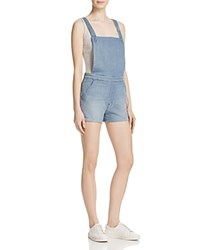 Mother Swooner Short Denim Overalls In Unexpected Storm