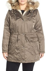 Plus Size Women's Laundry By Shelli Segal Faux Fur Trim Satin Parka Cadet Olive