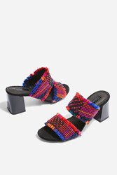 Topshop Two Part Woven Mules Multi