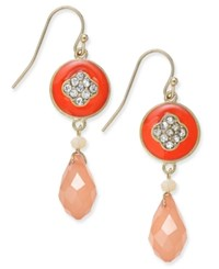 Inc International Concepts Gold Tone Enamel And Pave Crystal Drop Earrings Only At Macy's