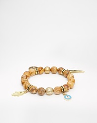Ashiana Stretch Bead Bracelet With Multi Charm Natural