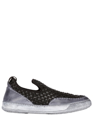 Bruno Bordese Woven Leather And Elastic Slip On Sneakers Black