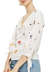 Topshop Field Embroidered Floral Blouse Ivory