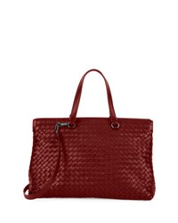 Bottega Veneta Large Double Compartment Lambskin Tote Bag Barolo