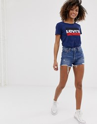 Levi's 501 High Rise Short With Raw Hem And Rips Blue