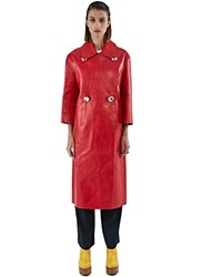 Marni Long Leather Duster Coat Red