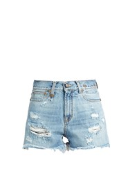 R 13 Shredded Slouch Denim Shorts Light Blue