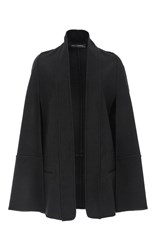 Sally Lapointe Felted Wool Short Cape With Detachable Fox Stole Black