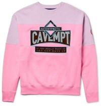 Cav Empt Autohypnotic Appliqued Loopback Cotton Jersey Sweatshirt Pink