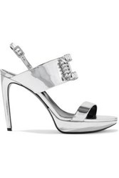 Roger Vivier Woman Crystal Embellished Mirrored Leather Platform Sandals Silver