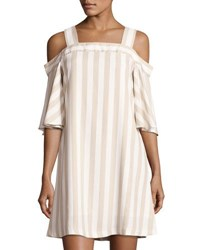 Taylor Cold Shoulder Striped Dress White Brown