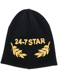 Dsquared2 Embroidered Beanie Men Wool One Size Black