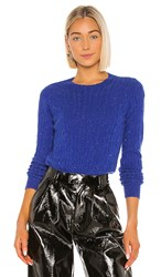 Autumn Cashmere Distressed Cable Crew Sweater In Royal. Cobalt