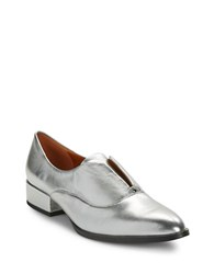 H Halston Selina Leather Oxfords Silver