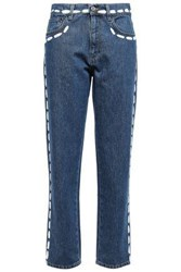 Moschino Woman Cropped Printed High Rise Boyfriend Jeans Mid Denim