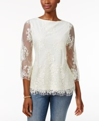 Charter Club Lace Boat Neck Top Only At Macy's Vintage Cream