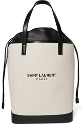 Saint Laurent Teddy Leather Trimmed Printed Canvas Tote Off White