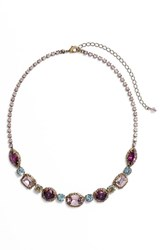 Sorrelli Adorned Multi Cut Crystal Necklace Purple Multi